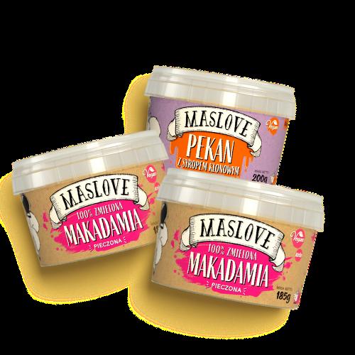 Mega pakiet – 2 x makadamia + 1 x pekan z syropem klonowym – razem 570 g